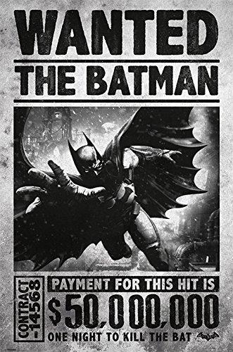 Batman PP33251 Arkham Origins Poster Wanted 50.000.000$, Mehrfarbig, 61 x 91.5cm