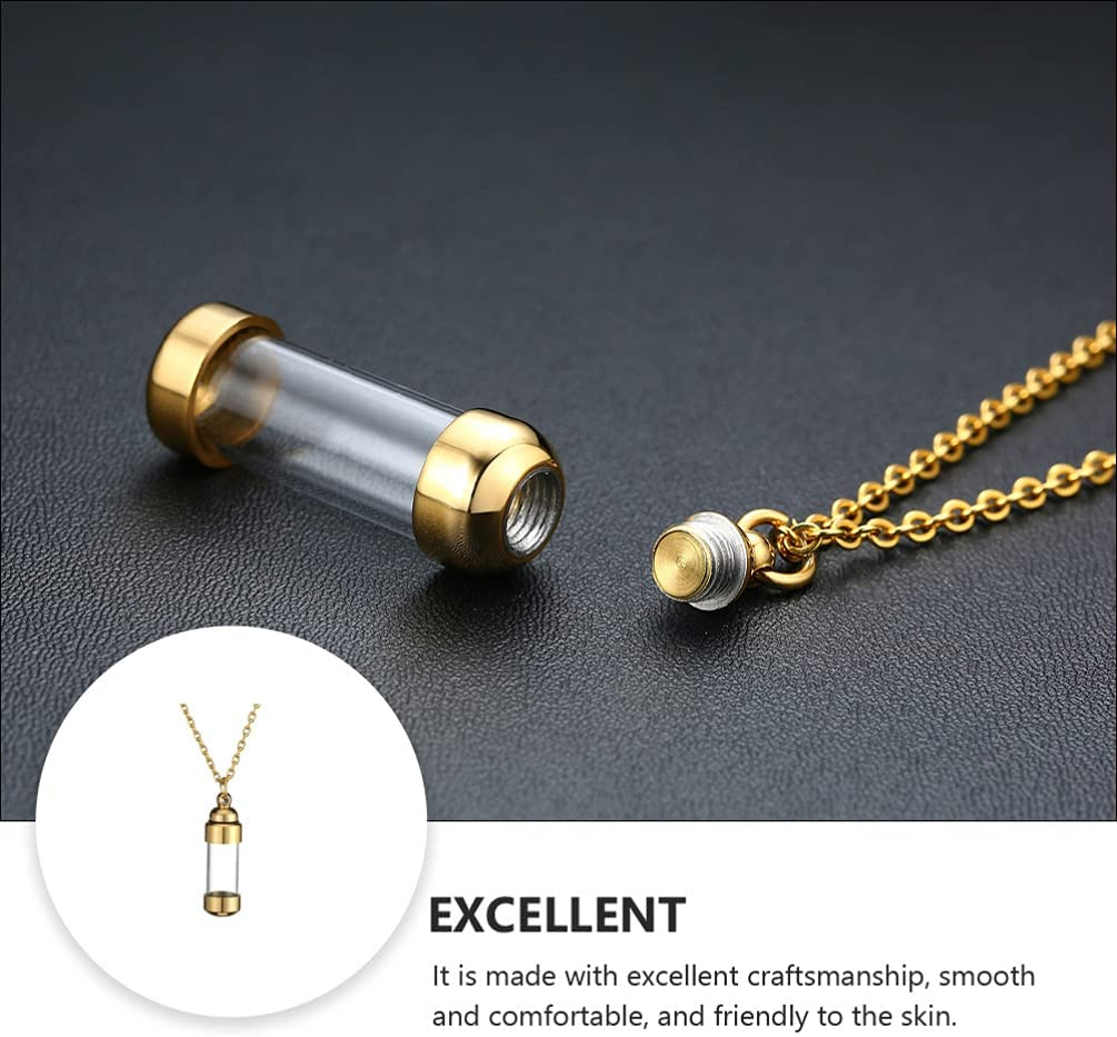 Urn Pendant Necklace Clear Glass Bottle Ashes Necklace Stainless Steel Pet Memorial Keepsake Holder Cremation Jewelry for Women Men Prayer Lover Gift Golden