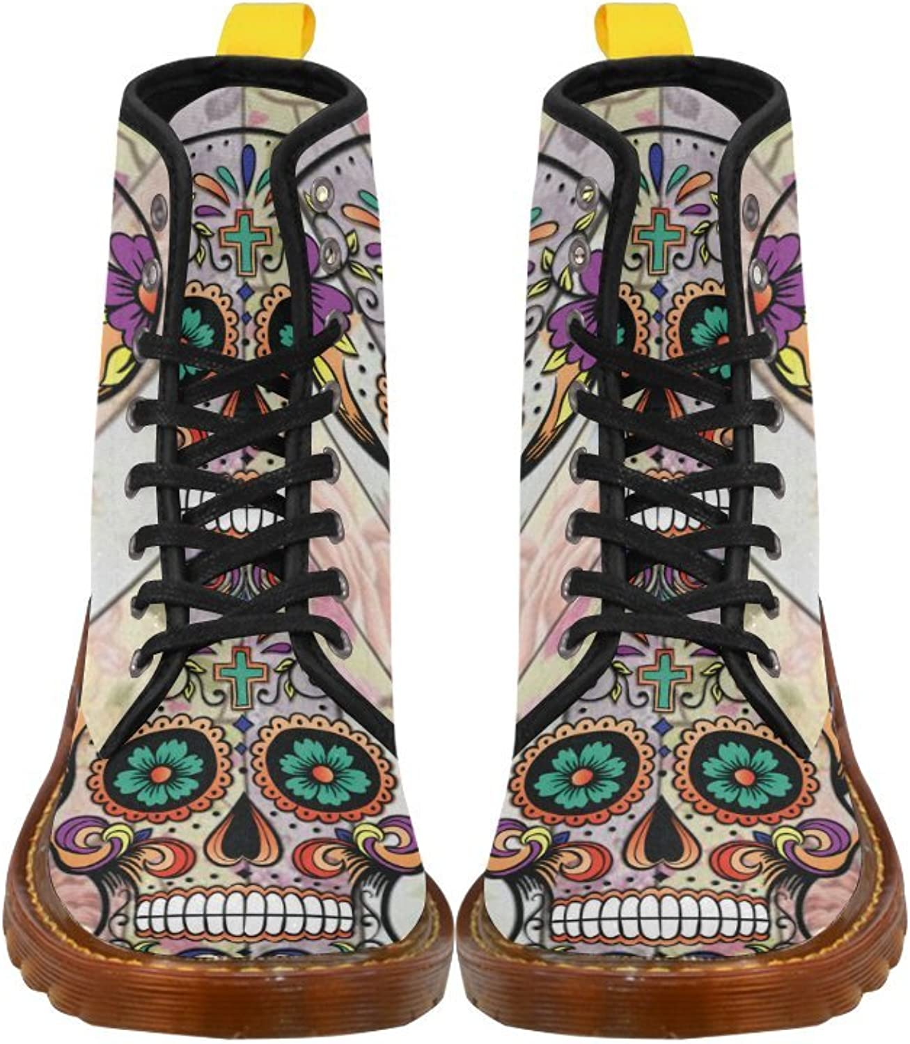 D-Story shoes Sugar Skull On Flower Lace up Martin Boots for Women