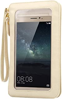 New Universal Crazy Horse Texture Touch Screen Wallet Style PU Leather Shoulder Bag for Galaxy Note 8 & Mega 6.3, Huawei Mate 8 / Mate 7, etc. 6.3 inch Below(Black) Starxx (Color : Beige)