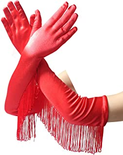 Satin Elbow Length Gloves with Tassel for Women Girls Prom Evening Wedding Party,Red