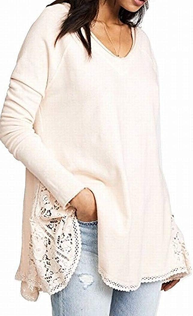 Free People Women's No Frills Lace-Inset Pullover Sweater