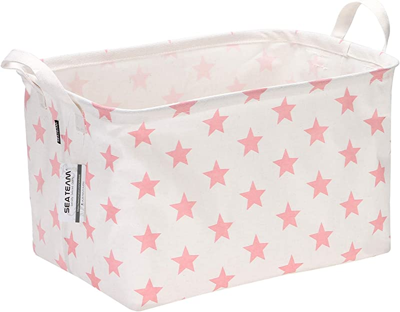Sea Team Collapsible Rectangular Canvas Fabric Storage Bin Shelf Basket Organizer For Nursery Kid S Room 16 5 X 11 X 9 8 Inches Pink Star
