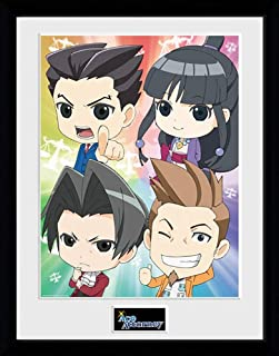 Ace Attorney Chibi - Mounted & Framed Print - 44 x 34 cm (Approx 18 x 14 Inches)
