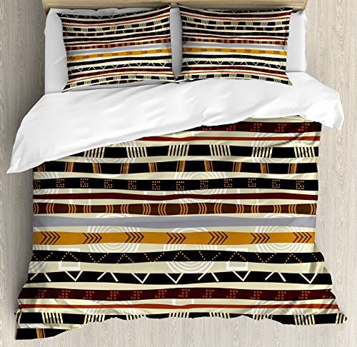 Ambesonne Tribal Duvet Cover Set Queen Size, Ethnic African with Trippy Geometric Forms Timeless Heritage Wild Earthen Pattern, Decorative 3 Piece Bedding Set with 2 Pillow Shams, Multicolor