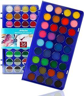 Artecho Vattenfärg set, 36 vackra färgkakor med 1 vattenpensel penna och 1 klassisk borste