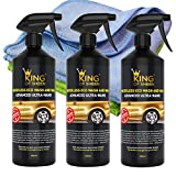 King of Sheen Advanced Ultra Nano Waterless Car Wash and Wax Spray Car Cleaner with Canauba Wax and Nano Polymers for Unbeatable Protection and Shine,(3 x 500ml)+2 Professional Microfibre Cloths