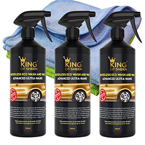 King of Sheen. Spray nettoyant et cire à base de cire de Carnauba et de nanopolymères pour la protection et la brillance durable, 3 x 500 ml + 2 chiffons en microfibre Produit écologique