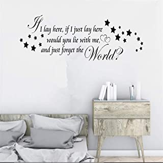 diobre Room Wall Stickers Quotes If I Lay Here If I Just Lay Here Would You Lie with Me and Just Forget The World Wall Sticker for Living Room Bedroom