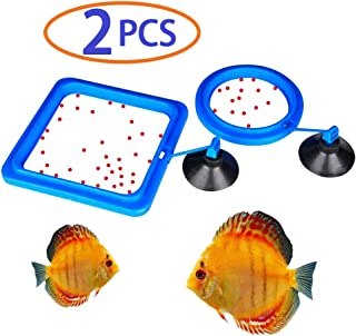 Betta Feeding Ring,Aquarium Fish Safe Feeding Ring,Floating Food Feeder,Reduces Wastage and Maintains Water Quality for Guppy, Goldfish and Other Smaller Fish,Square + Circle with Suction Cup 2PCS