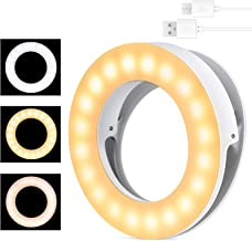 Selfie Ring Light, MercuryGo Rechargeable Portable Clip on 40 LED Circle Light with 3 Light Modes for iPhone/Android Smart Phone Photography, Camera Video Recording, Vlog
