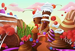 AOFOTO 7x5ft Fantasy Candy Land Landscape Background Cartoon Ice Cream Chocolate Cake Lollipop Photography Backdrop Dessert House Birthday Party Decoration Banner Photo Studio Props Kid Girl Wallpaper