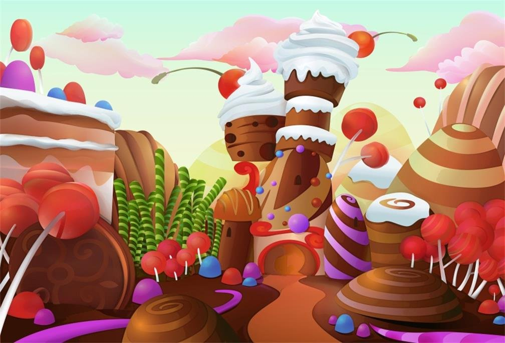 AOFOTO 10X8FT Cartoon Ice Cream Shop Interior Backdrop Colorful Decorative Dessert Counter Fridge and Tables Background for Photography Kids Baby Birthday Party Banner Photo Studio Props Vinyl