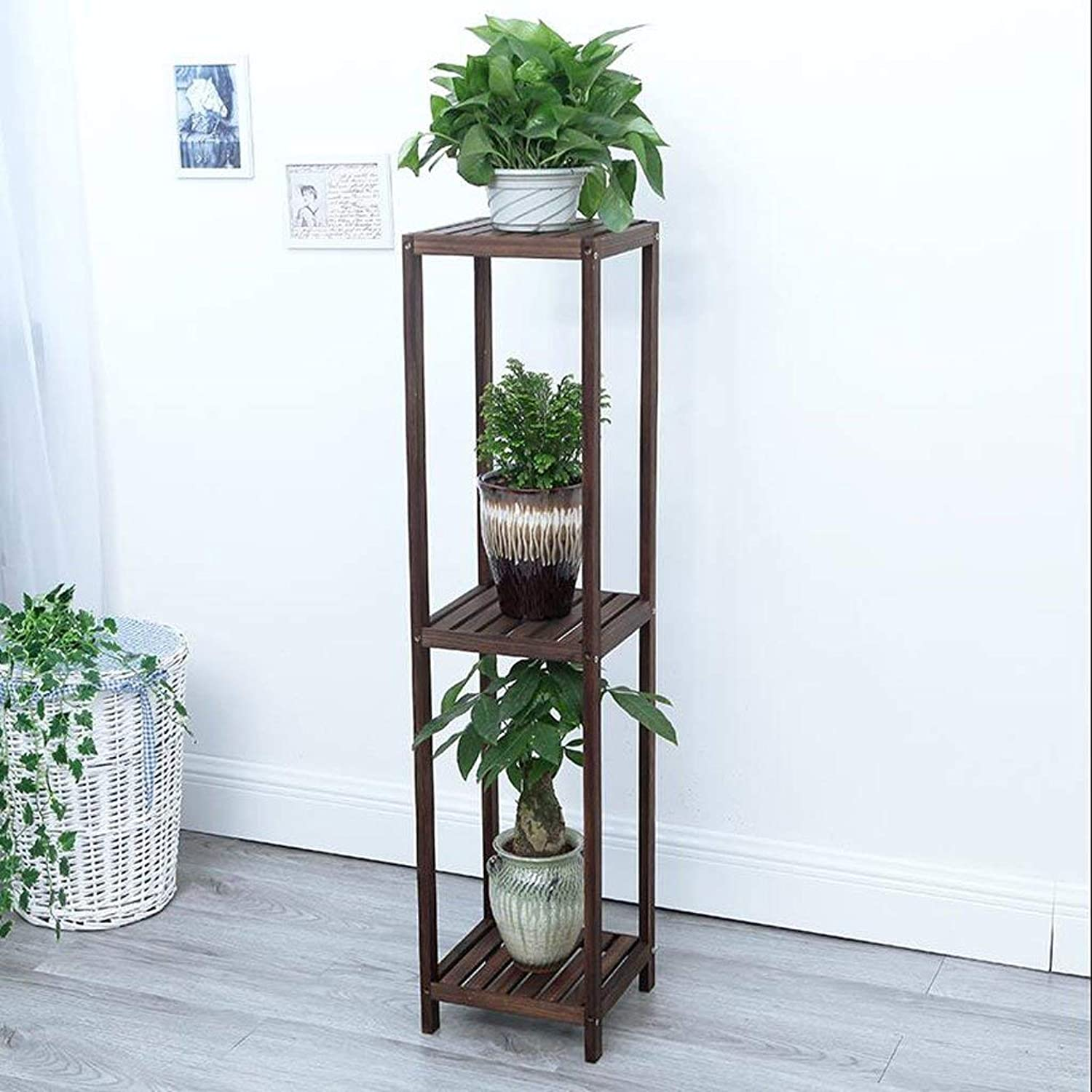 Gifts & Decor Plant Stand Shelf Flower Racks Solid Wood Flower Stand Plant Stand Indoor Balcony Flower Stand Multi-Layer Floor Shelf Three-Dimensional Flower Stand Solid Wood Material