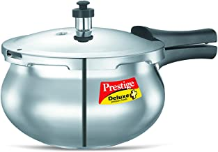 Prestige PRDAH2 Deluxe Plus 2-Liter New Flat Base Aluminum Pressure Handi for Gas and Induction Stove, 2-Liter, Small, Sil...