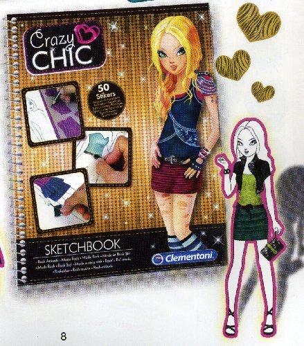 CRAZYCHIC Clementoni 15919 – Crazy Chic Sketchbook, Mode Rock Mode Rock