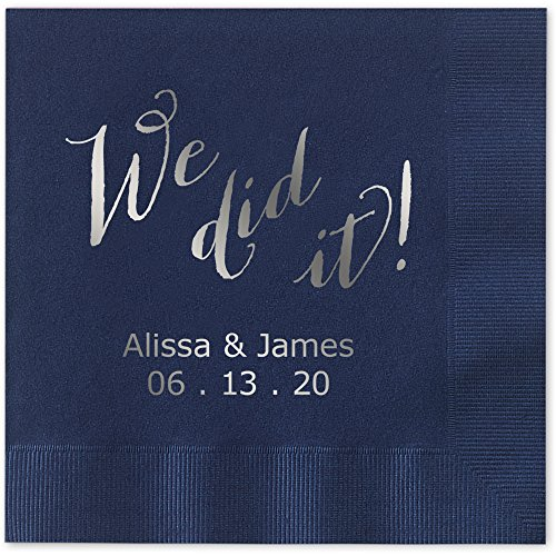 We Did It Personalized Beverage Cocktail Napkins - Canopy Street - 100 Custom Printed Navy Blue Paper Napkins with choice of foil stamp (5856B)