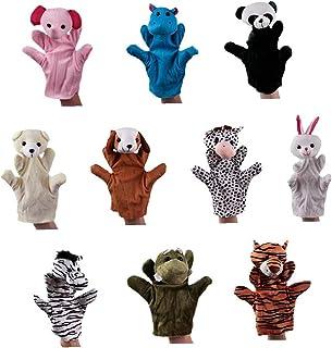 10st Dieren Handvertelpoppen Set Plush Dieren Hand Puppet Cartoon Animal Pluche Handpop Interactive Puppet Handschoenen Vo...