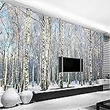 Lovemq Foto Personalizzata 3D Carta Da Parati Foresta Di Betulle Paesaggio Neve Soggiorno Camera Da Letto Tv Sfondo Muro Murale Carta Da Parati Papel De Parede-360X250Cm