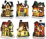Weihnachtsdorf Mit Beleuchtung, Weihnachtshaus Dorf, Weihnachtslaterne Led Weihnachtsdeko Amerikanisch Lichterkette Weihnachten Basteln Batteriebetrieben 6pc Set