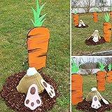 XeinGanpre – Hase Karotte Yard Art Outdoor Garten Rasen Heringe Kunststoff Dekoration Hase Patio Yard Landschaft Kaninchen-Ornamente Karotte Außen (Lanne + Karotte)