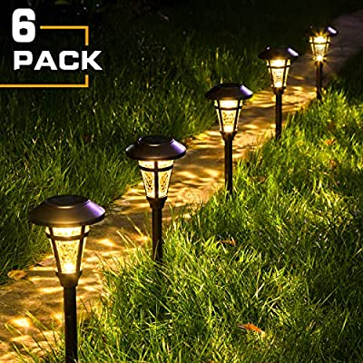Solpex Solar Pathway Lights Outdoor,6 Pack Solar Garden Lights, Bronze Finshed, Waterproof Solar Walkway Lights Outdoor Lawn, Patio, Yard, Garden, Pathway, Walkway and Driveway.