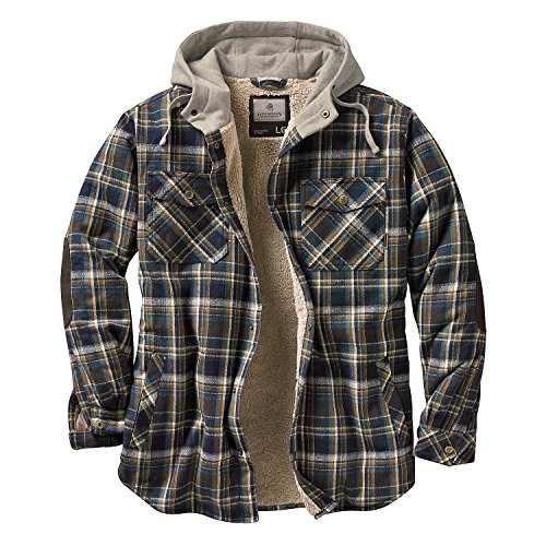 Legendary Whitetails Men's Camp Night Berber Lined Hooded Flannel (Upland Blue and Brown Plaid, Large)