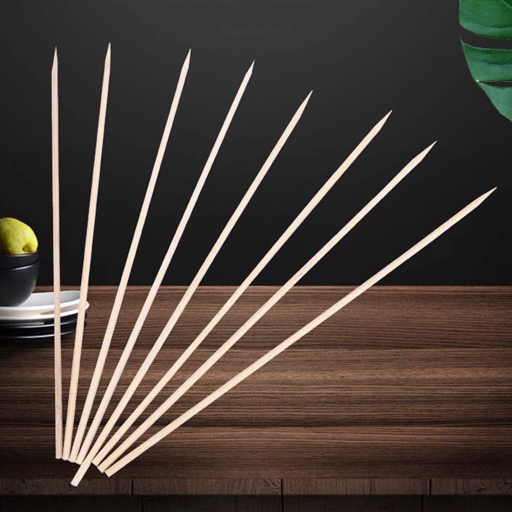Verlike 50 / 100Pcs Barbecue Barbecue Jetable Brochettes De Bambou Viande Nourriture Boulettes De Viande Bâtons De Bois Pour Le Camping Randonnée 4mm * 40cm 3mm * 35cm