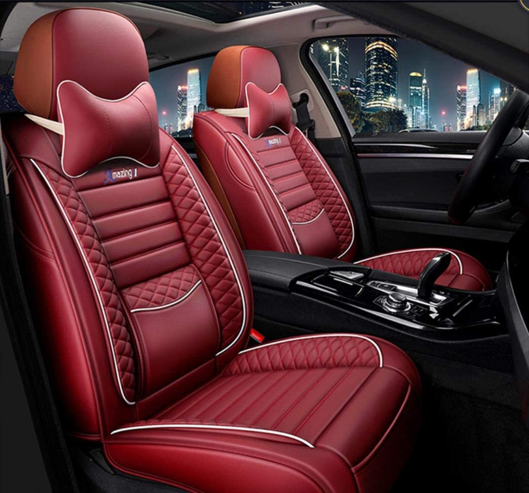 HIZH Funda de Asiento de Coche Universal de Cuero para Auto Alfa Romeo 159 147 Guilietta Boxer Brera Spiden Auto Productos Accesorios de Coche,Red Lux