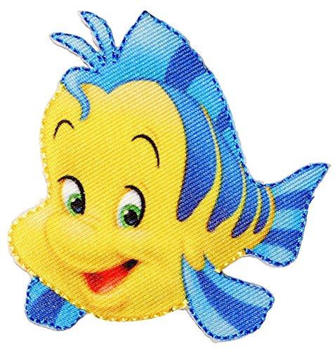 alles-meine.de GmbH Bügelbild -  Disney - Arielle die Meerjungfrau / Fisch Fabius  - 7 cm * 7,7 cm - Aufnäher Applikation - Fische / Krabben - Doktorfisch - gewebter Flicken - ..