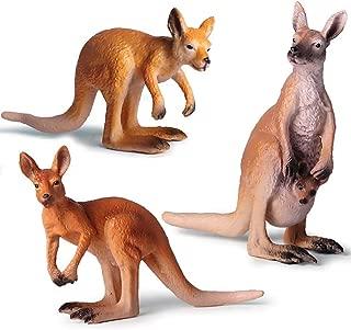 Kolobok – Safari Animals Action Figures – Wild Kangaroos – Zoo Animals Educational Toys –3 pcs Playset