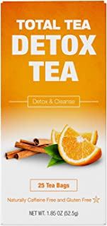 Total Tea Caffeine Free Detox Tea - All Natural - Slimming Herbal Tea for Gentle Cleansing - 25 Tea Bags