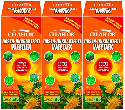 3 x 400 ml Celaflor Rasen-Unkrautfrei Weedex Unkrautvernichter