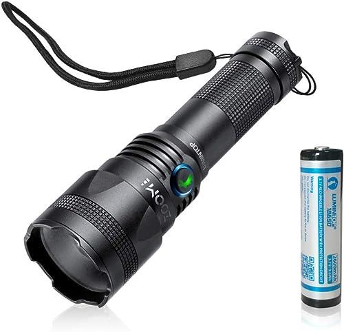 Luminitop Zoom ONE Lampe torche rechargeable Micro USB CREE XPL-HD LED Zoom à une main IP65 Etanche Luminosité 850 LuHommes 6 modes Dimming 18650 Handy Lite avec batterie