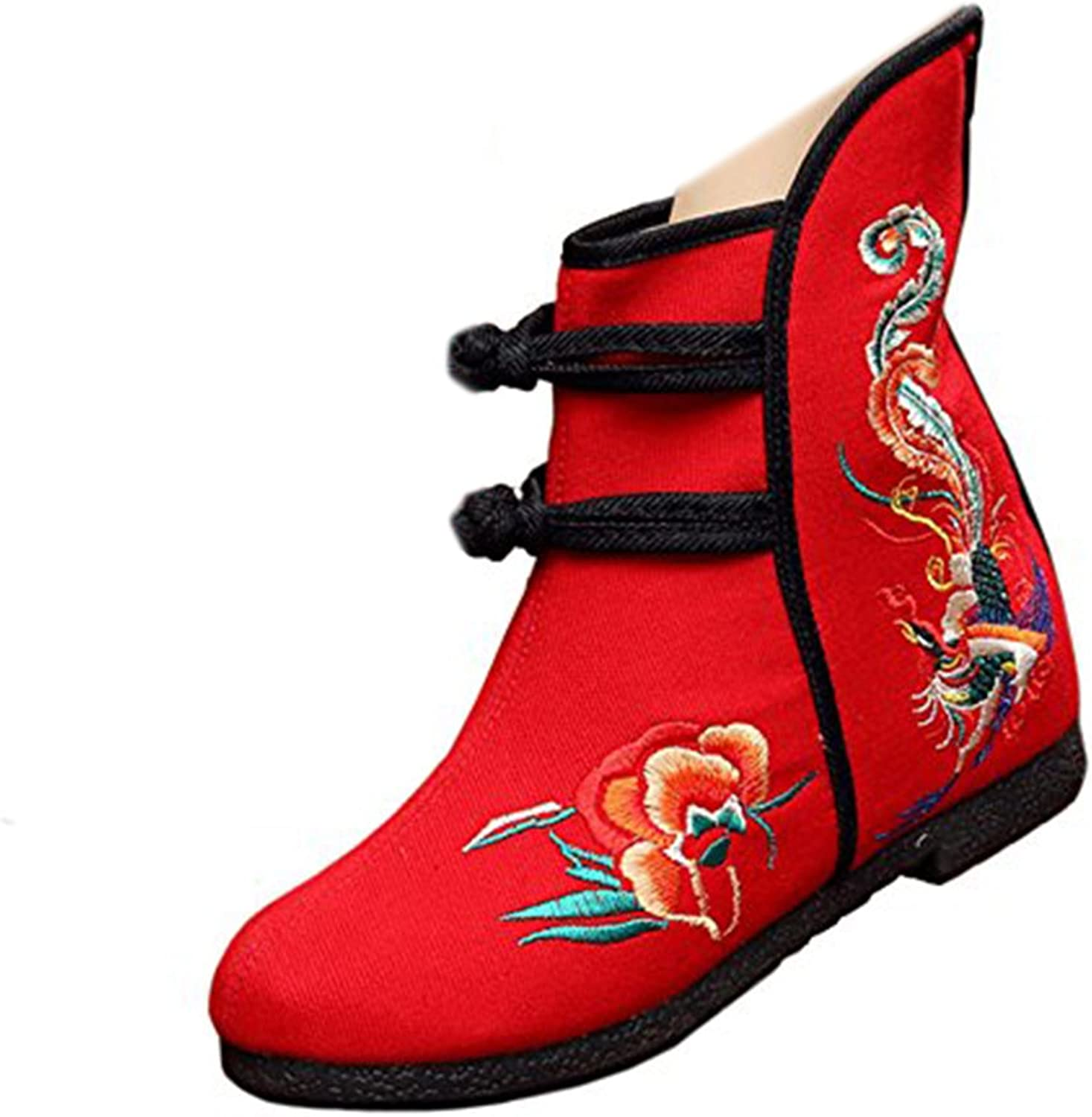 Shenghuajie Vintage Beijing Cloth shoes Embroidered Boots 12-01 red with Cotton