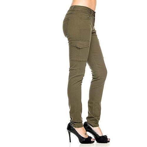 3a0d018de65 Oluolinex Jack David Wax Jean Ladies Womens Stretch Solid Casual Skinny Utility  Cargo Pants G11