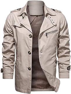 HEFASDM Men Turn-down Collar Big & Tall Casual Loose Rain Jacket Parka Jackets