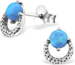 Synthetic Opal Oval Small Studs Earrings Stering Silver 925 Nickle Free (E27090)