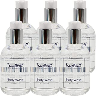 TravelWell Pressure Pump Bottle Hotel Travel Motel Airbnb Guest Body Wash 11 Fl Oz/330ml 6 Bottles Per Pack