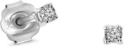 Miore pendientes 4 garras con presion oro blanco/oro amarillo 9 kt 375 con diamantes talla brillante 0,02 ct