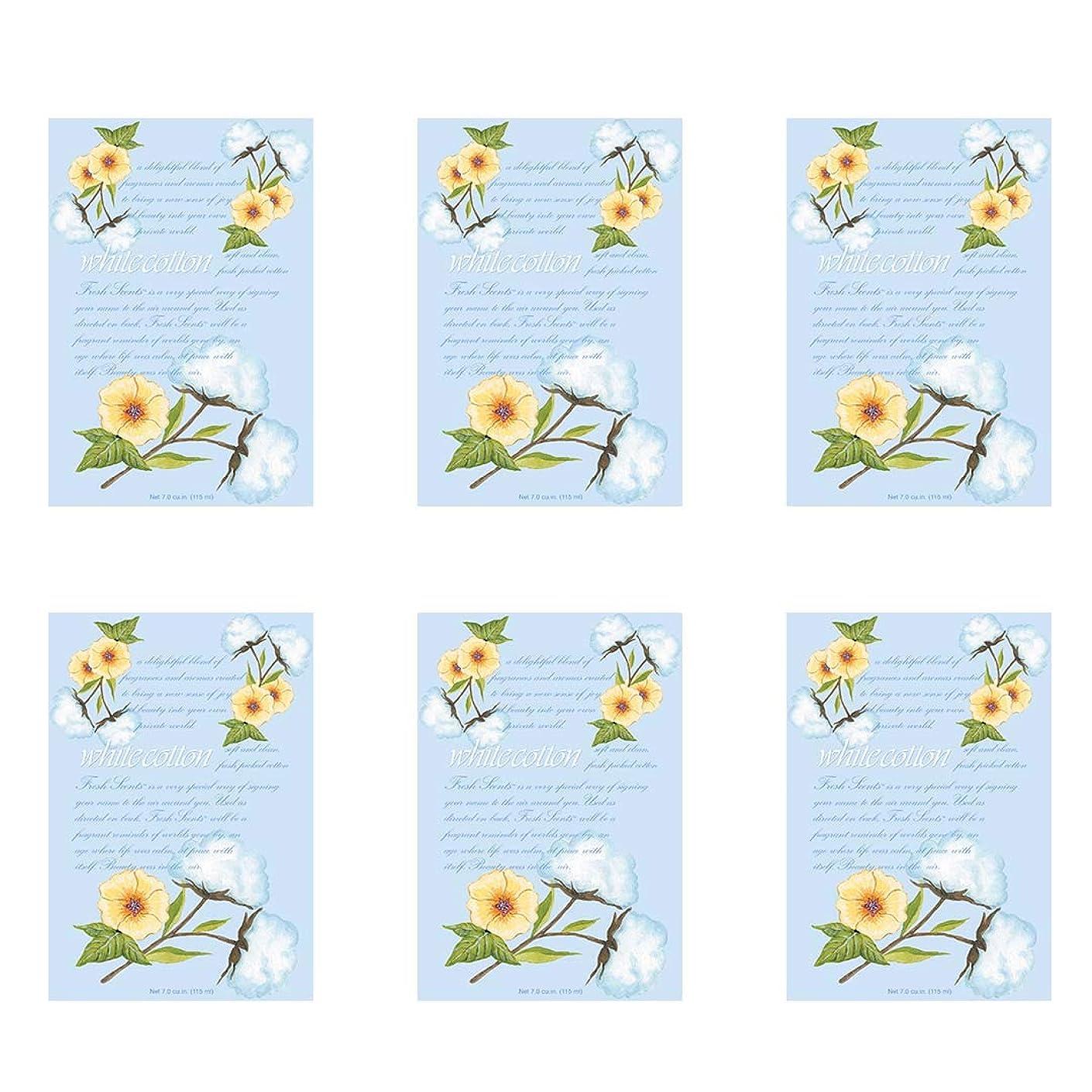 エクステント害虫印刷するWILLOWBROOK フレッシュな香りのサシェ - ホワイトコットン 6パック