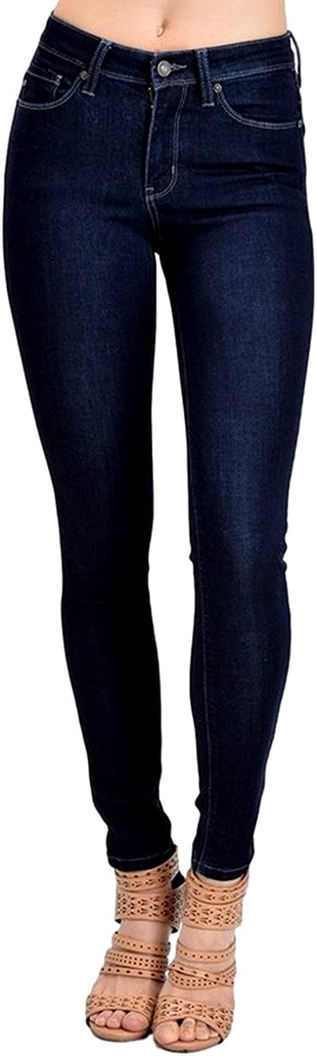 Kan Can Women's Mid Rise Skinny Jeans Dark Denim KC7085HRD