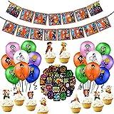 Suministros de fiesta de cumpleaños de Dragon Ball, decoraciones de Dragon Ball Z incluyen adorno para tarta cupcakes, pancarta, globos Dragon Ball Pegatinas Suministros de fiesta para niños