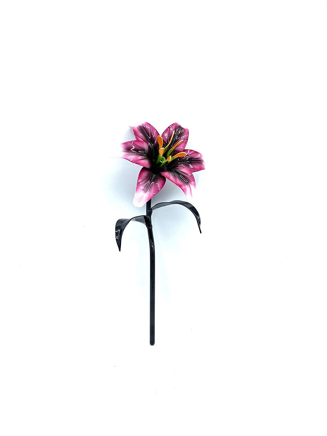 Aluma Flowers Handmade Aluminum Super popular specialty store Lily with F Black Base- Limited time trial price Stem No