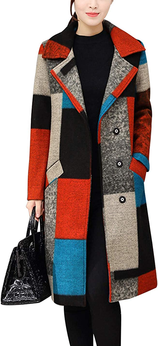Gihuo Women's Vintage Single Breasted Wool Blend Plaid Pea Coat