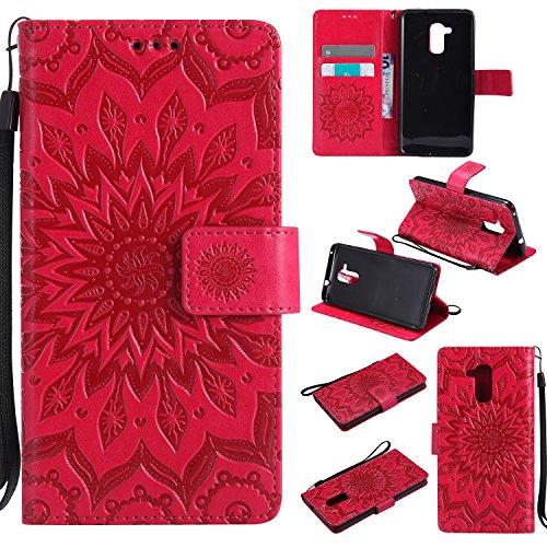 Docrax Huawei GT3 Lederhülle, Handy Hülle Leder Klappbar Brieftasche Schutzhülle mit Kartenfach Magnetisch Stoßfest Handyhülle Flip Case für Huawei GT3/Honor 5C - DOKTU40335 Rot