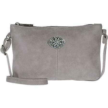 Trachtentasche Dirndltasche kleine Umhänge-Tasche Kunst-Leder grau