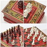 YOBENS NBM Juego de ajedrez Chino arcaico Juego de ajedrez Vintage Warriors de Terracota 32 Piezas de ajedrez Tablero de ajedrez de Madera Colección Chiness