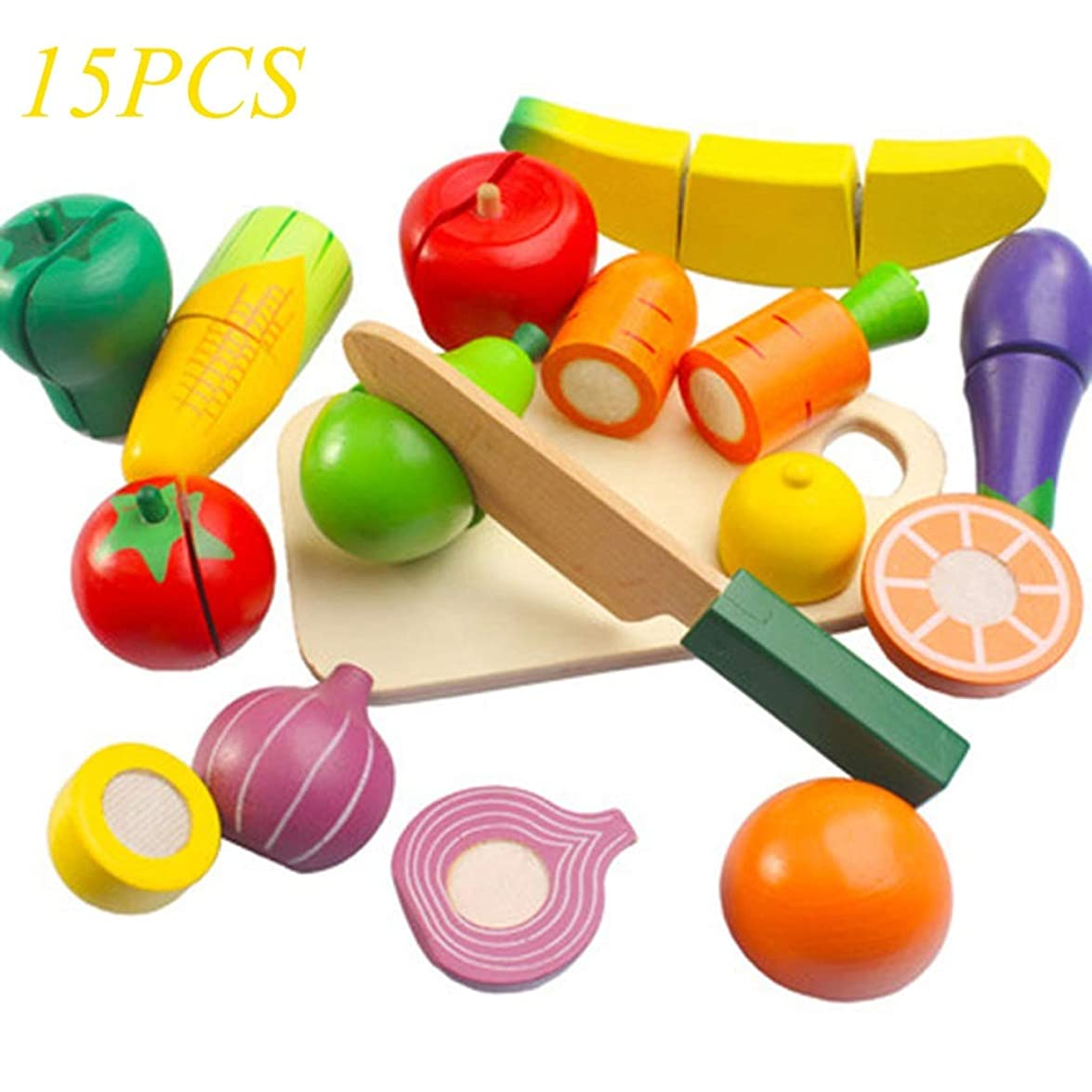 テスピアン避けるプレゼン木製の食品切断ゲーム、15PCS木製の食品果物や野菜のカットのおもちゃ、就学前の子供のためのギフト (色 : Multi-colored)