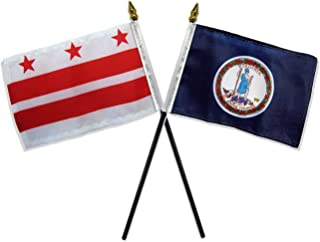 ALBATROS State Virginia with Washington DC Flags 4 inch x 6 inch Desk Stick Table (NO Base) for Home and Parades, Official Party, All Weather Indoors Outdoors